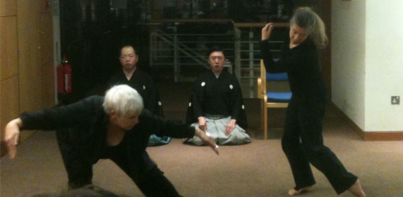 Prof Sarah Whatley performs at Noh workshop at Oxford