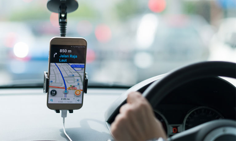 driving map on smartphone