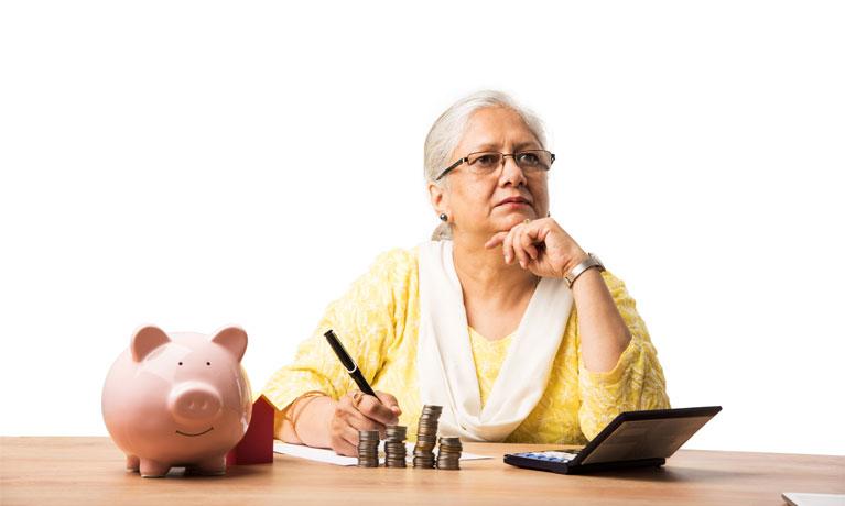 Indian woman thinking saving money