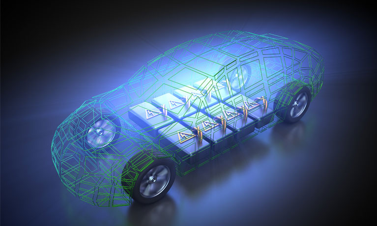 3d rendering of EV car batteries