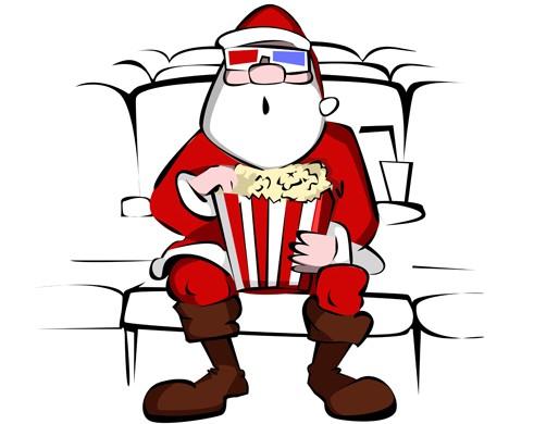 Santa watching movie
